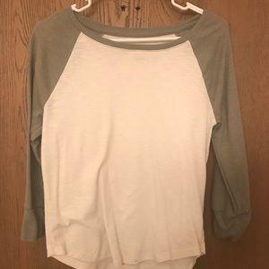 Olive green and cream baseball 3/4 sleeve shirt